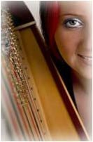 A close up artistic shot of Bethan with her triple harp