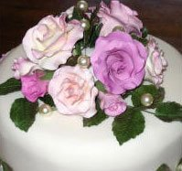 close up of floral cake decoration