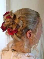 image of brides hair at wedding in wales