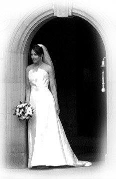 The wedding bride alone in this beautiful black and white shot