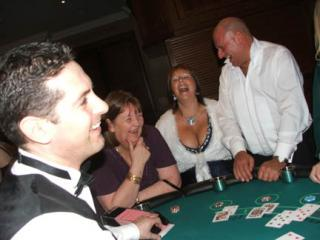 Deal a Party professional casino dealer keeping the wedding guests entertained
