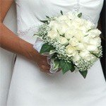 Beautiful Bride with White Flower Arrangement