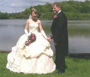 Lovely snapshot from a wedding video on the edge of a lake